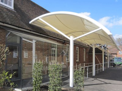 residential white shade canopy